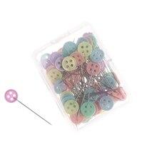 100 unids/lote, accesorios de costura, flor de retales/pajarita/botón alfiler de costura con caja DIY, PIN de Patchwork para coser manualidades