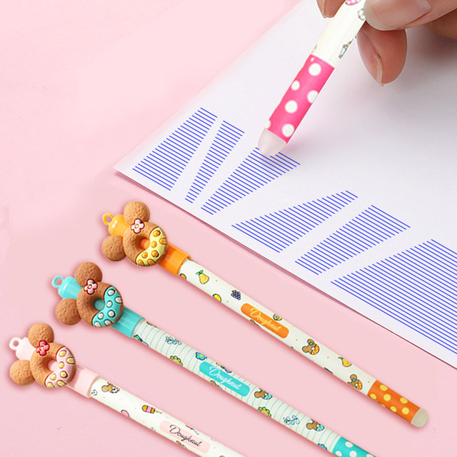 2+50/Set 0.5mm Cute Donuts Ballpoint Pens Kawaii Erasable Pens Blue Ink Ball Pens For Girls Writing School Supplies Stationery 3