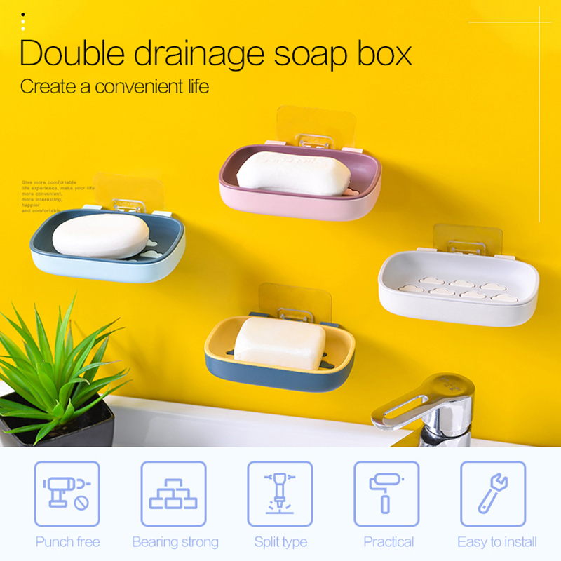 Bathroom Accessories Wall-Mounted Soap Boxes Strong Adhensive Storage Boxes Punch-Free Double-Layer Soap Box Home Organizer