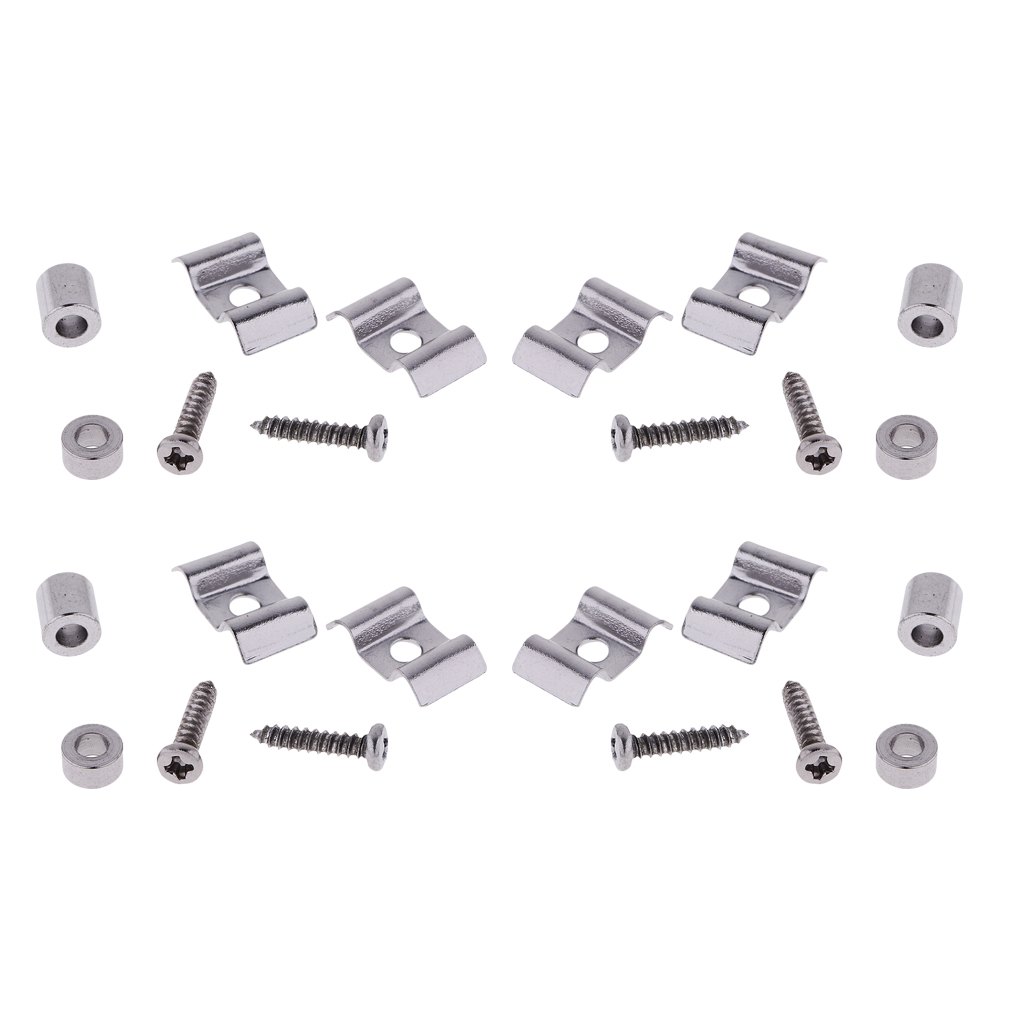 4 Sets Electric Guitar Roller String Trees Retainer Guides W/ Screw Silver