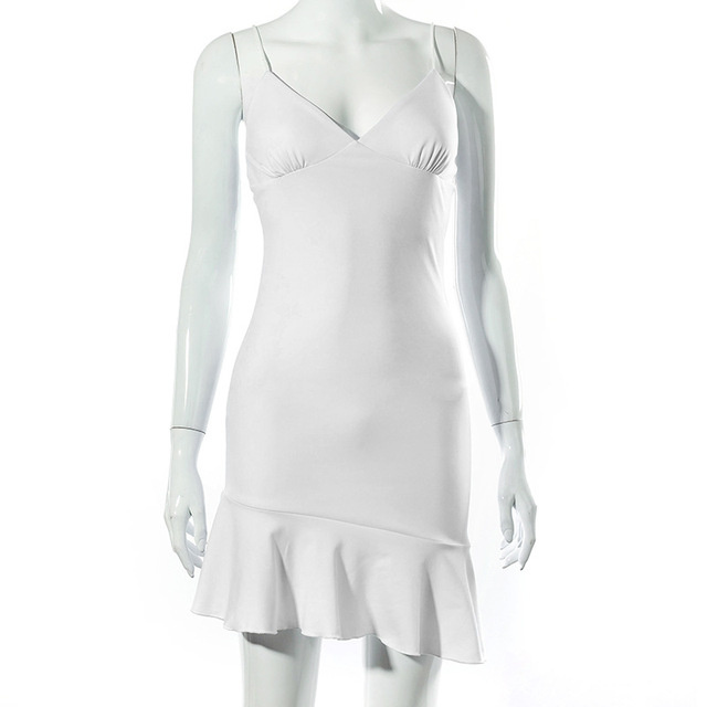 Cryptographic Spaghetti Straps Ruffles Mini Dress Club Party Elegant Sleeveless Slip Women's Summer Sundress Outfits Holiday 4