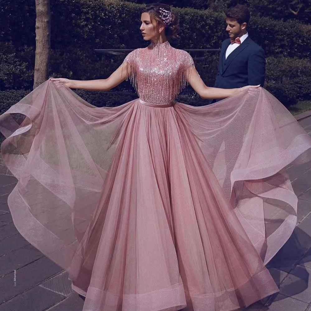 abiye gece elbisesi   prom     dresses   2020 high neck tassel pink tulle evening   dresses   beading sequins formal   dresses   muslim   dress