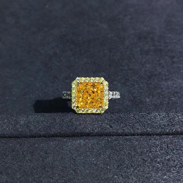 Wong Rain Luxury 925 Sterling Silver 2 CT Radiant Cut Created Moissanite Gemstone Diamonds Wedding Engagement Ring Fine Jewelry 6