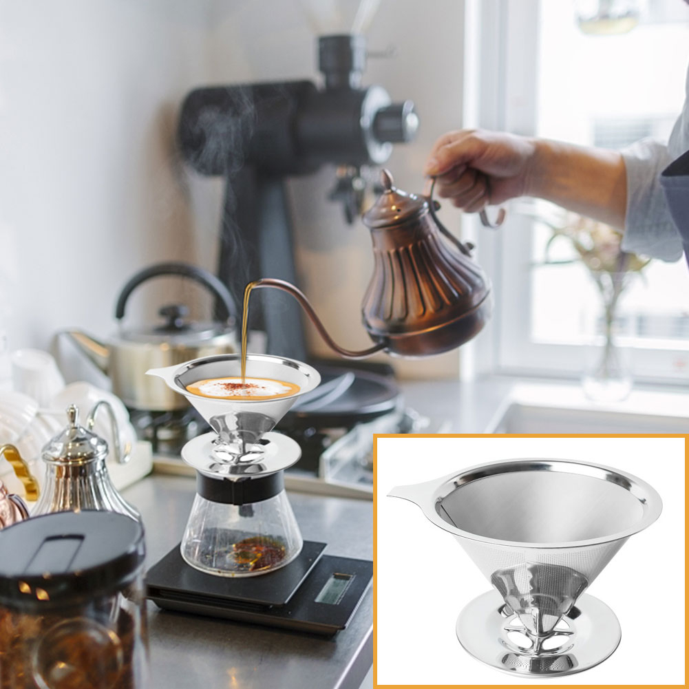 Stainless Steel Double Layer Coffee Filter Holder Pour Over Coffees Dripper Mesh Tea Filter Basket Kitchen Coffee Making Tool