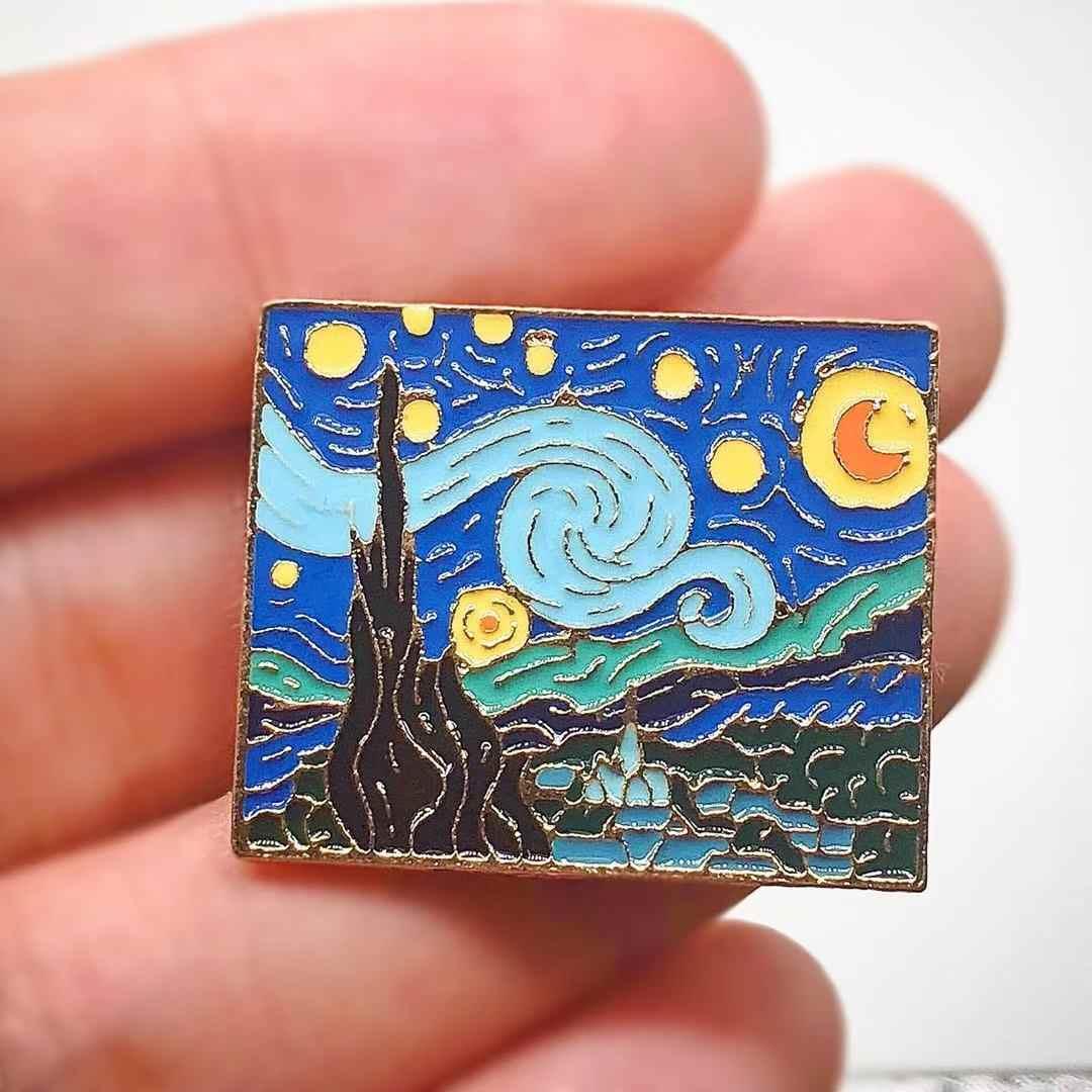 Van Gogh Starry Night Lukisan Enamel Kerah Pin