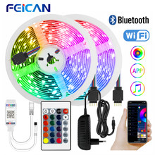 LED Strip Light 12V SMD 5050 RGB Flexible Ribbon WiFi / Bluetooth 5M 10M 15M 20M Tape Lamp Diode Ledstrips Works with Alexa