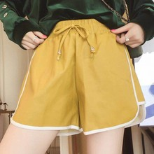 Spring PU Leather Elastic Waist Sports Shorts Pants SF