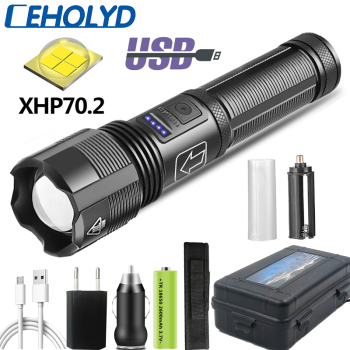 CEHOLYD Led Flashlight High Quality XHP70.2 Tactical Hunting Power by 18650 AAA Battery Usb Rechargeable Torch Zoomable Lantern 1