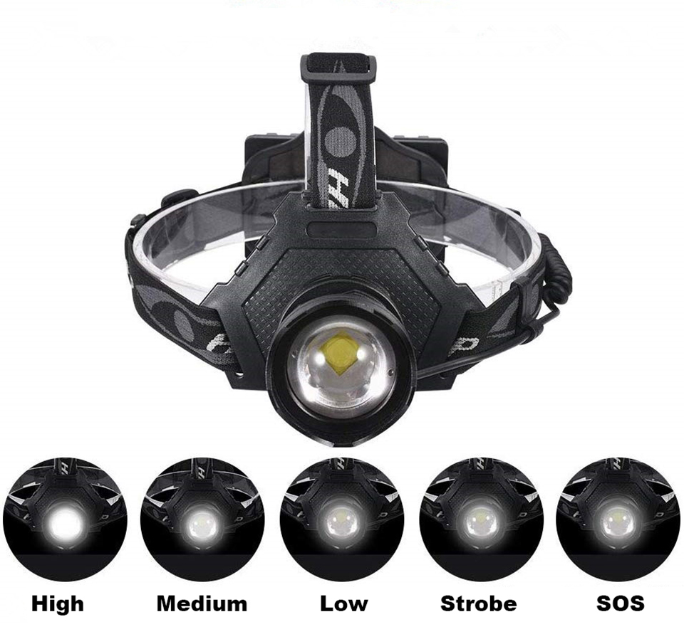 LED Headlamp Super Bright Headlight XHP70 Outdoors Waterproof Zoomable USB Rechargeable 18650 Battery Fishing Camping Light 6