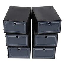 6 Pcs Transparent Shoe Box Flip Design Plastic Storage Case Organizer Dustproof Clear Boxes for Home Black