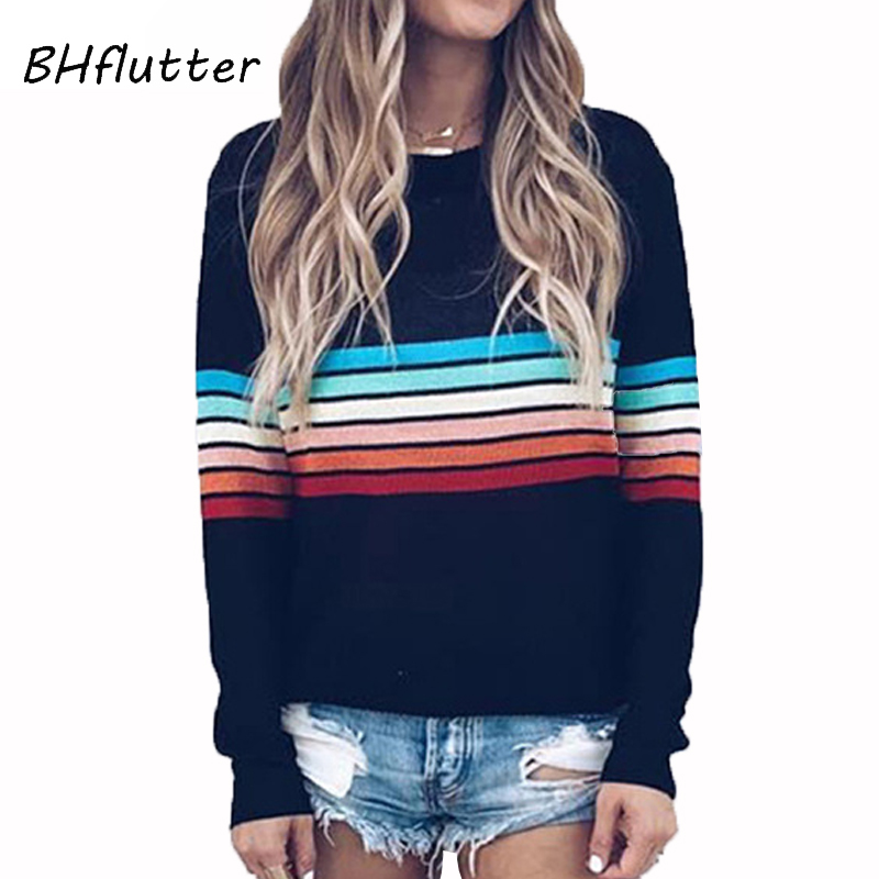 BHflutter Women Sweater Plus Size 2019 Striped Print Long Sleeve Knitted Pullovers Jumper Casual Winter Sweaters Swetry Damskie