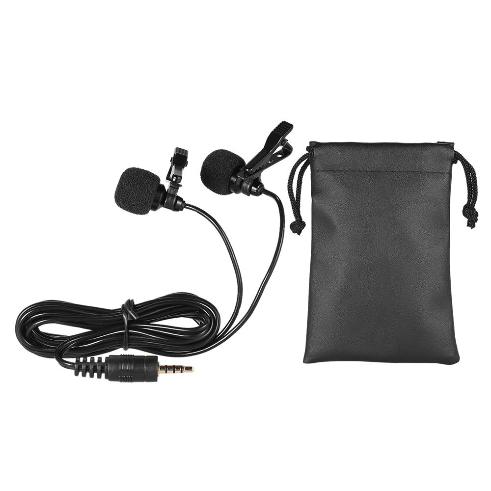Andoer 150cm Cellphone Smartphone Microphone Mini Dual-Headed Omni-Directional Mic Microphones With Collar Clip For IPad IPhone5