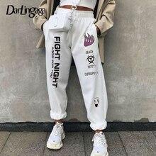Darlingaga Casual nadrukowane litery spodnie dresowe spodnie zimowe damskie luźne Harajuku luźne spodnie spodnie z wysokim stanem sportowe dno 2020