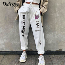 سروال رياضي شتوي من Darlingaga مطبوع عليه حروف سروال نسائي فضفاض هاراجوكو فضفاض بخصر عالٍ سروال رياضي سفلي 2020