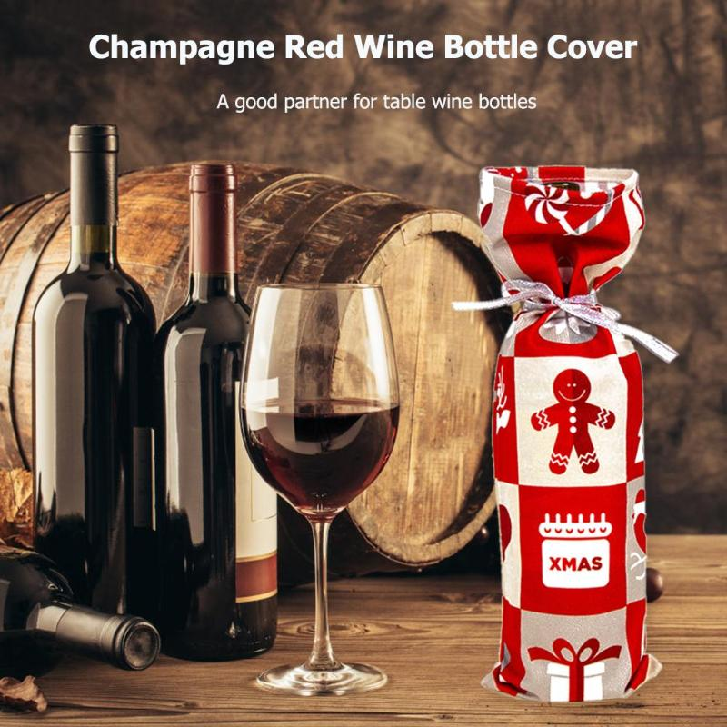 Wine Bottles Cover Cloth Polyester Cotton Velvet Multiple Christmas Prints New Year Party Table Decorative Ornament