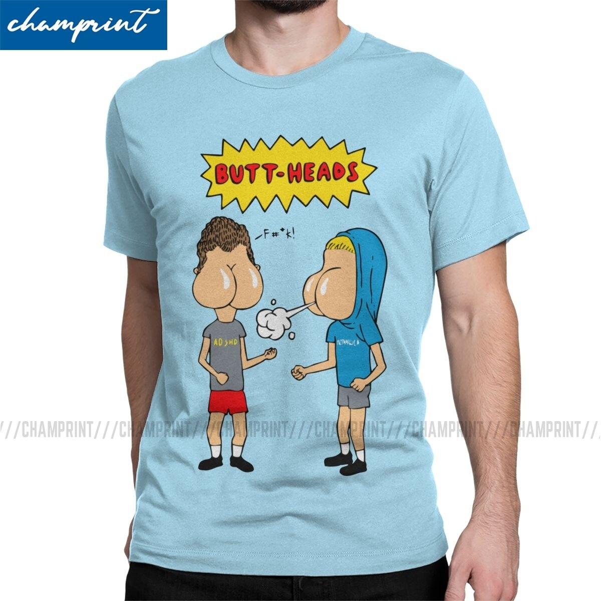 Мужская футболка с круглым вырезом Buttheads, Винтажная футболка с забавной музыкой и мультипликационным принтом, футболка размера плюс, Beavis и ...