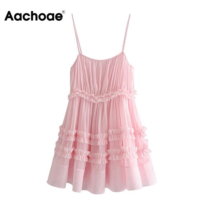 Aachoae Sexy Spaghetti Strap Mini Dress Women Summer Mesh Patchwork Holiday Beach Dress Pink Backless Party Pleated Dress