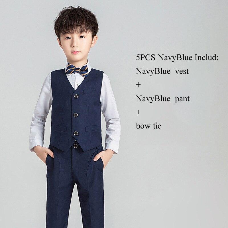 Костюм с цветочным принтом для мальчиков Детский Блейзер, торжественное платье, комплект одежды для свадьбы, 3/4/5 предметов, костюм+ штаны+ жилет+ рубашка+ галстук, Детские смокинги Garcon - Цвет: NavyBlue Vest 3PCS