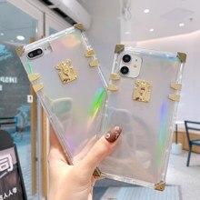 Luxury Laser Rainbow Square Case for iPhone