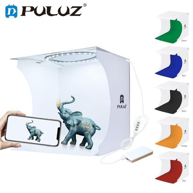 Photo Studio Box 20cm Mini Ring LED Light box folding Lightbox Photography Light Studio Shooting Tent Box Kit  6 Color Backdrops