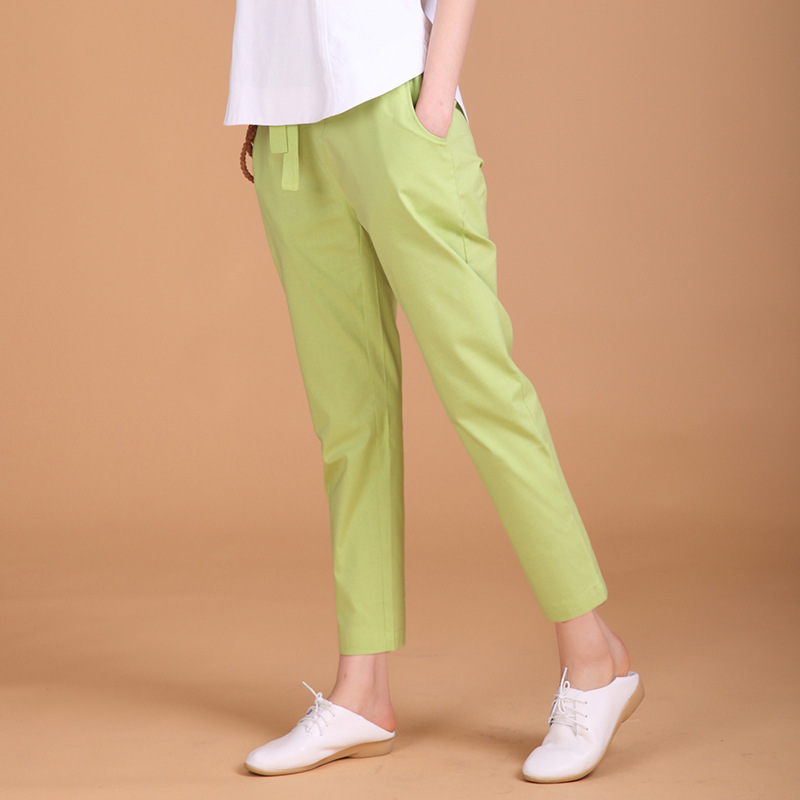 Cotton Linen   Capri     Pants   Women's Loose-Fit Korean-style Plus-sized WOMEN'S   Pants   Elastic Casual   Pants   Flax Skinny Harem   Pants   Fe