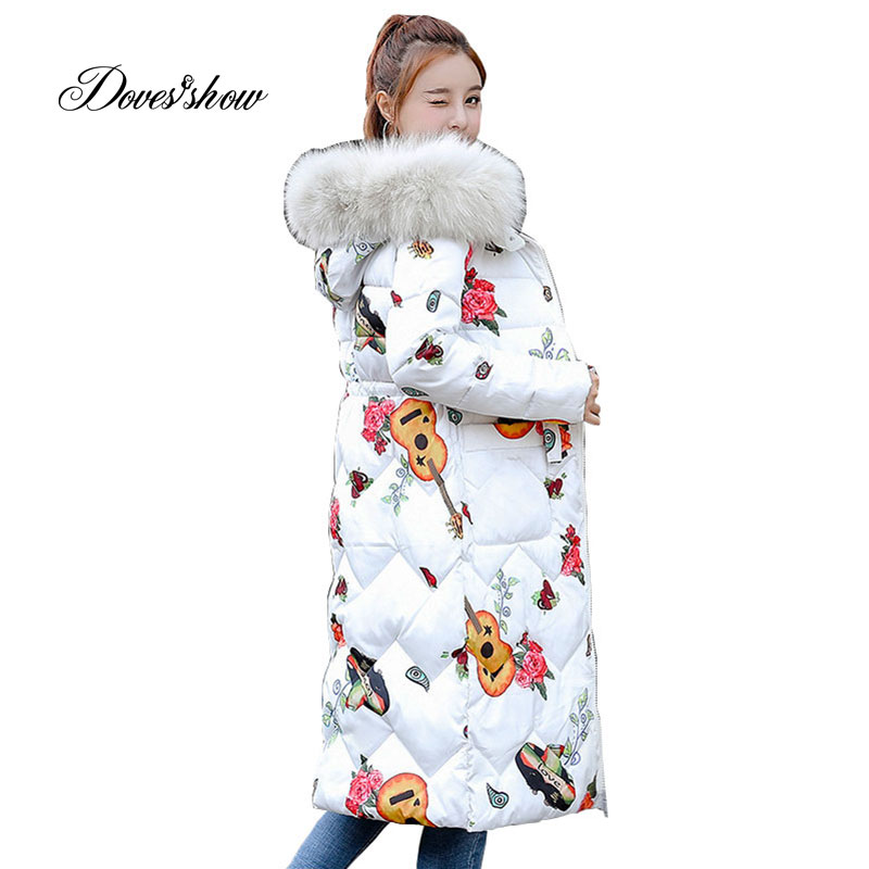Fur Collar Reversible Hooded Winter   Down     Coat   Jacket Long Thick Warm Women Casaco Feminino Abrigos Mujer Invierno Wadded Parkas