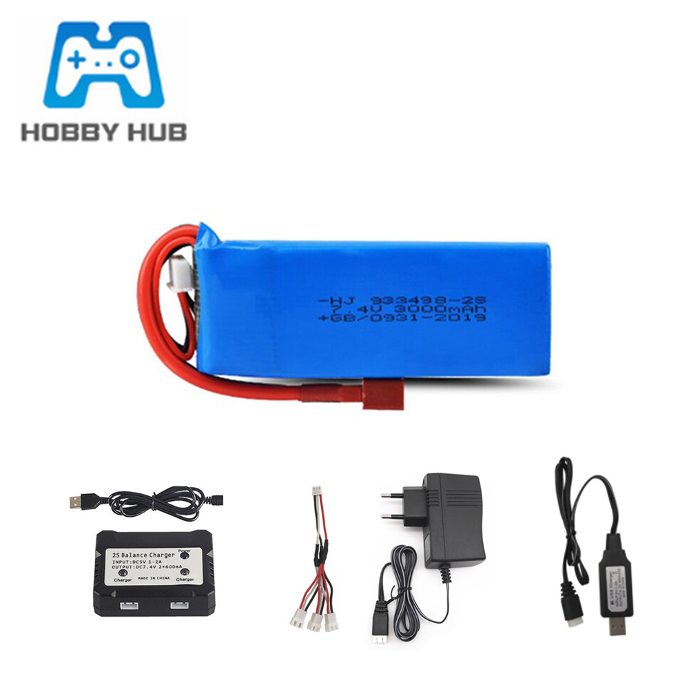 Battery + Charger For Wltoys 144001 Car <font><b>2s</b></font> 7.4v <font><b>3000mAh</b></font> <font><b>Lipo</b></font> Battery For Wltoys 1/14 144001 RC Car Toys Spare Parts image
