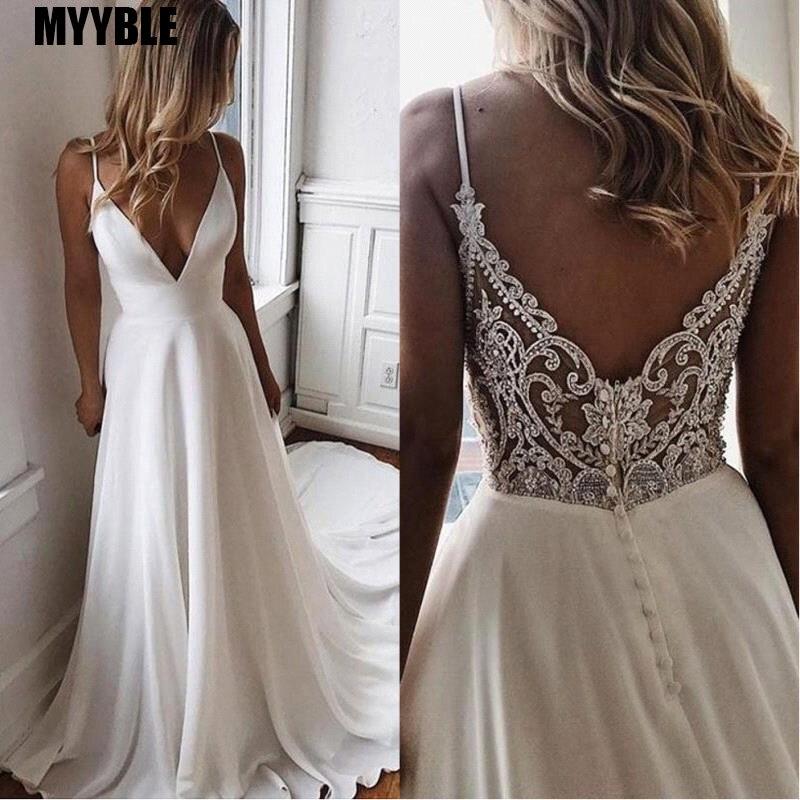 Vestido De Noiva  A Line Simple White Bride Wedding Dress V Neck Bridal Dress Long Chiffon Boho Beach Wedding Gowns Freebie