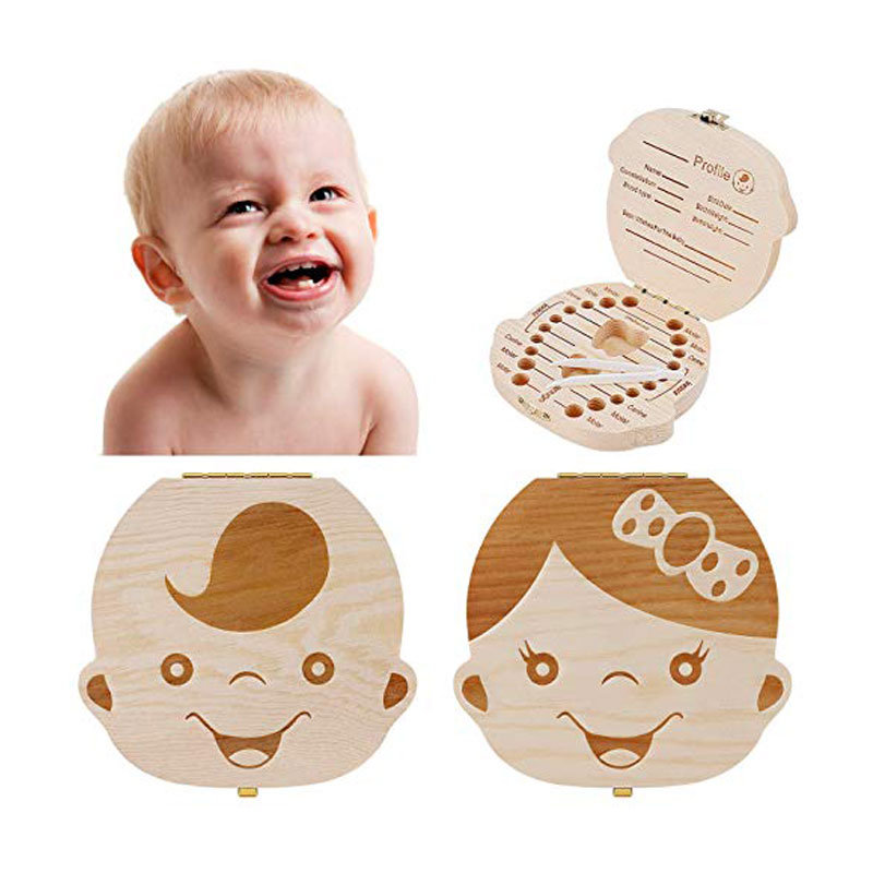 Tooth Box Storage Wooden Kids Keepsake Organizer Gift Baby Teeth Box Cute Children Tooth Container To Keep The Childwood Memory