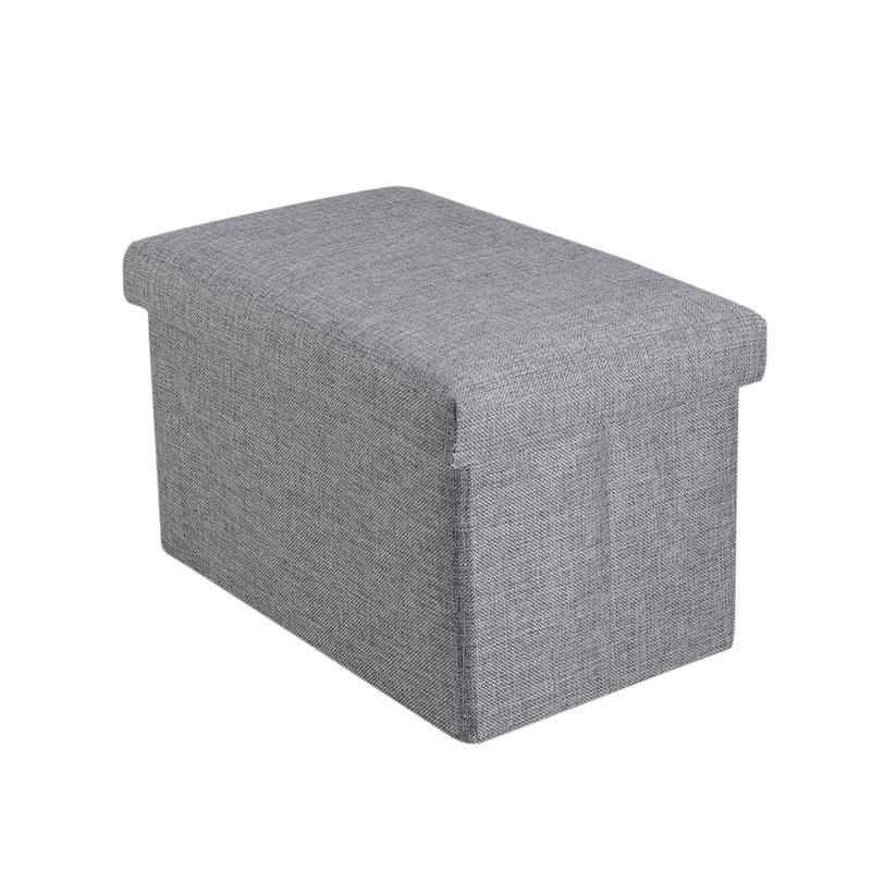 1pc foldable storage ottoman with top folding toy chest storage box linen fabric ottomans bench foot rest bedroom living room
