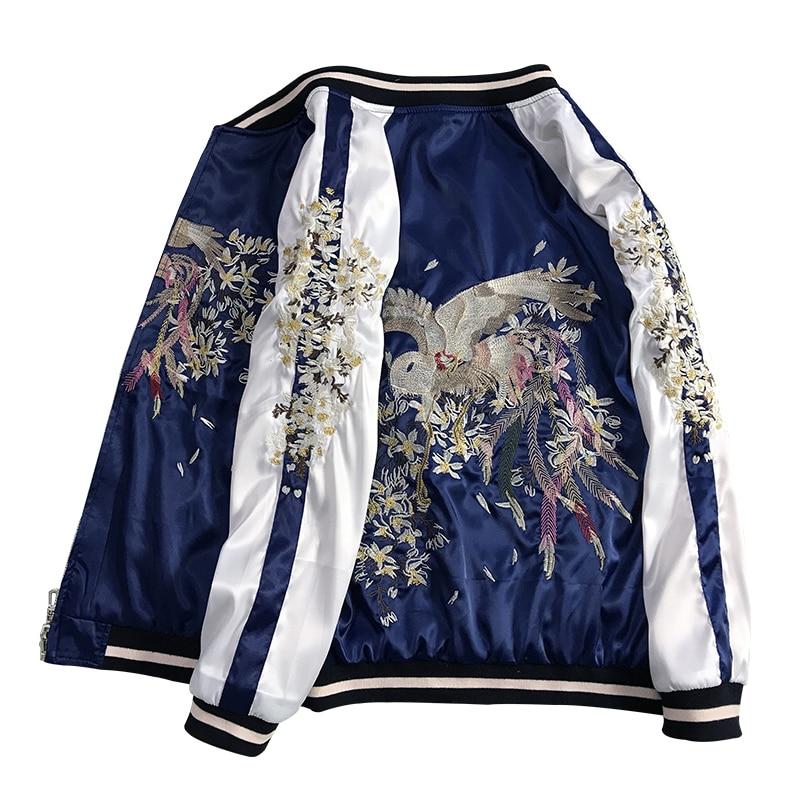 Luxury Phoenix Embroidered Jackets Smooth Women Sukajan Yokosuka Souvenir Spring Autumn Baseball Jacket Casual Loose Coats