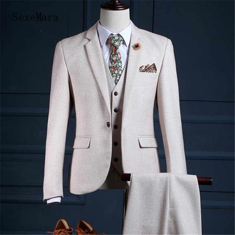 Ivoor mannen Wedding Tuxedos Bruidegom Suits bruidegom Ring Boy Slim Smoking Formele Prom Doek (pak + jas + broek)