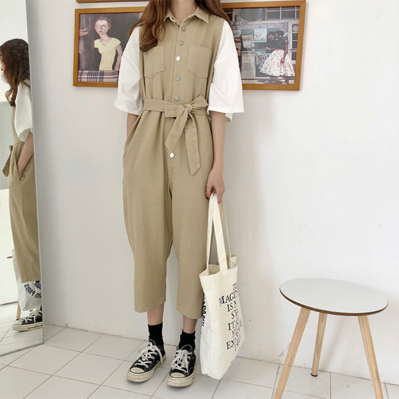 Women Spring Pure Cotton Patchwork Casual Long Jumpsuit With Waistbelt Short Sleeve Loose Plus Size Playsuit With Buttons