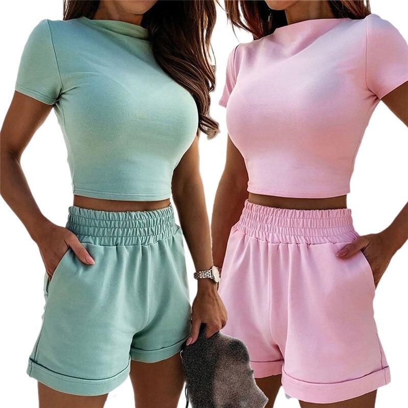 2020 Sexy Elegante Zwei Stück Set Trainingsanzug Frauen Sommer Kleidung Sommer Kurzarm Top Elastische Shorts Schweiß Anzüge Passenden Sets