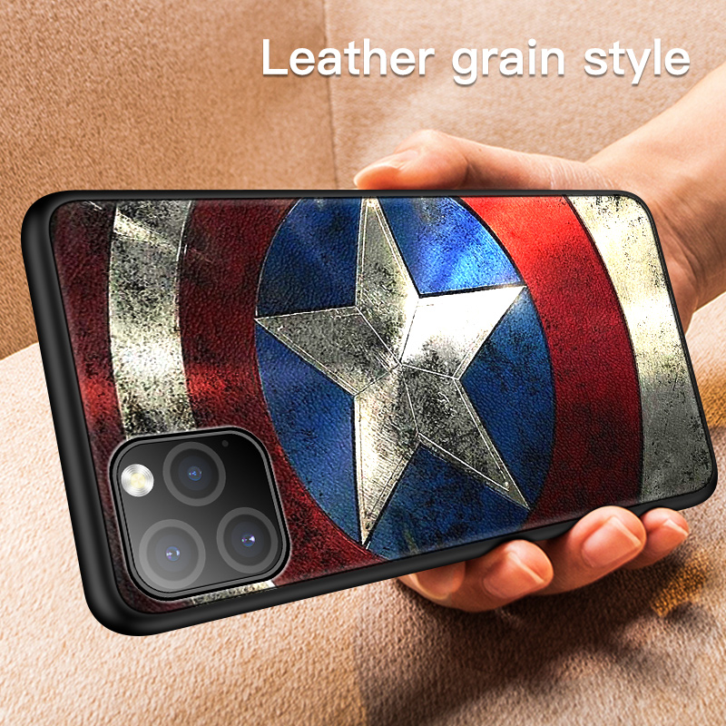 Galleria fotografica Luxury Marvel Leather Texture Phone Case For iPhone 11 Pro Max XSmax XR XS X 8 7 6s 6 Plus Ultra-thin Skin Silicone Cover Coque