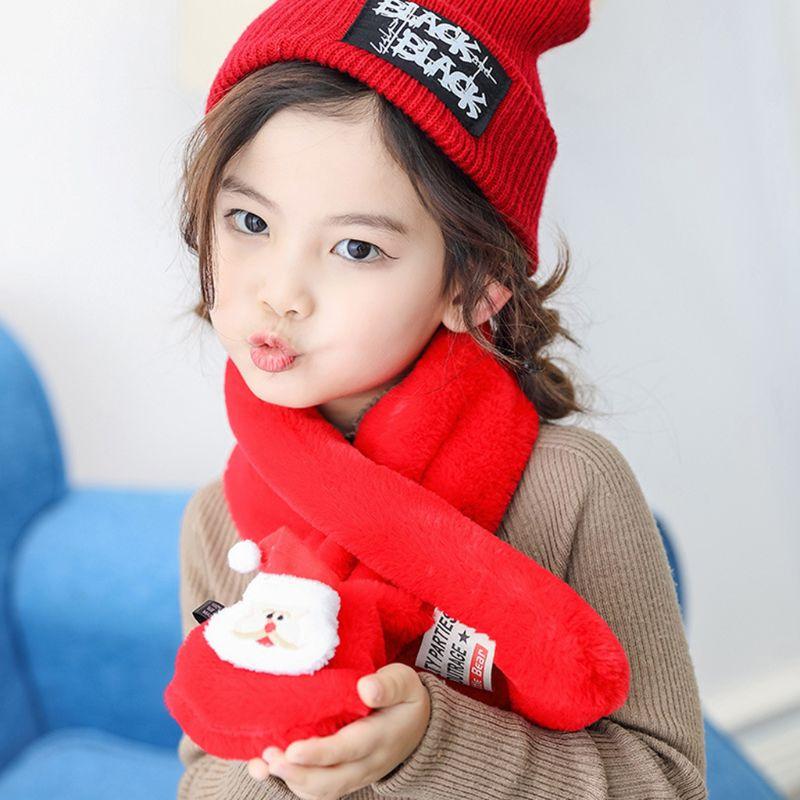 Enfant en bas âge enfants noël en peluche croix col écharpe Santa cerf poupée hiver plus chaud 28TF