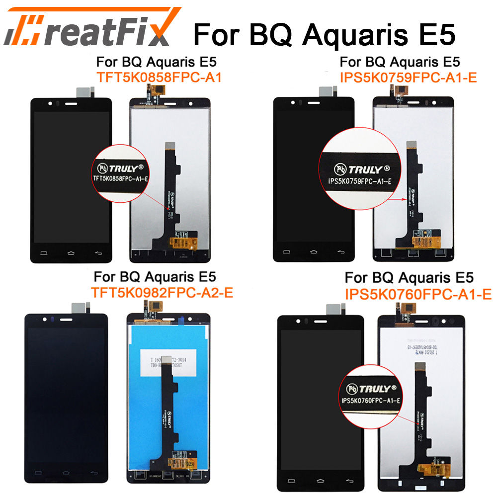LCD Screen Mobile Phone and Digitizer Full Assembly for BQ Aquaris E5 Black 0759 Color : Black