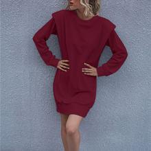 Женское платье с круглым вырезом и длинными рукавами осенне