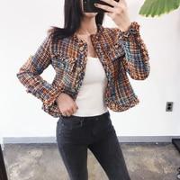 New Tweed Short Blazer Woven Woolen Cotton Coat Black Orange Plaid Single Breasted Button Office Ladies Autumn Women Jackets