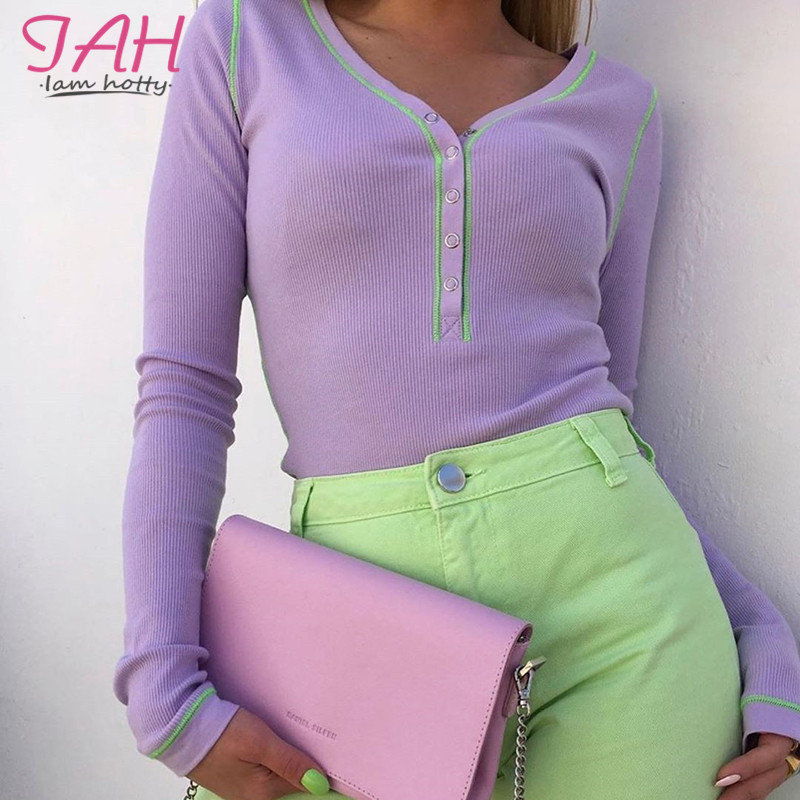 Iamhotty Long Sleeve Bodysuit Purple Buckle Body Woman Jumpsuit 2019 Casual Autumn Mujer Body Suits For Women Elegant Rompers