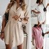 Women Autum Long Sleeve Mini Dress OL Casual Work Plain Mini Dress Ladies party sexy elegant Office Dresses vestido verano 1