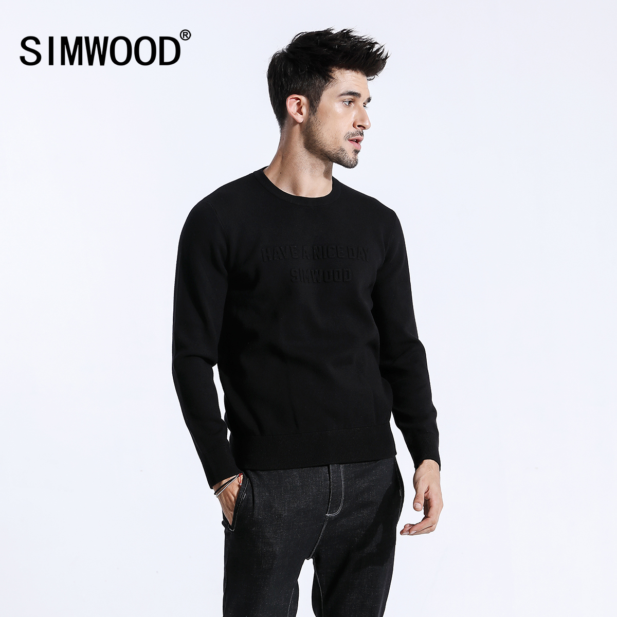 SIMWOOD 2019 Spring Winter 3D Print Letter Sweater Men O-neck Knitted Fashion Pullovers Slim Fit High Quality Clothes 180423