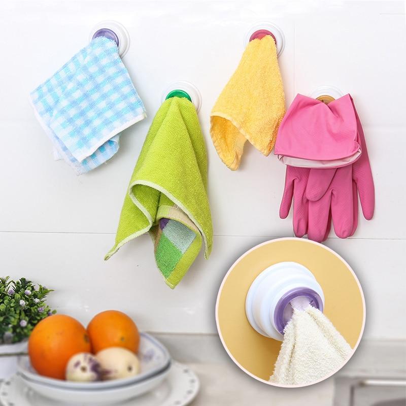 Towel Holder Sucker Wall-mounted Cloth Clip Dishclout Storage Rack Bathroom Storage Towel Rack Bathroom Kitchen Supplies