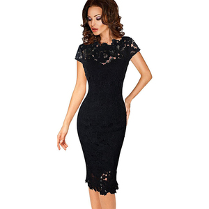 Image 2 - OTEN Office ladies dresses Elegant womens sexy lace hollow out knee length work office business sheath bodycon dress robe crayon