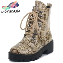 DORATASIA New Hot Sale 34-43 Ladies Fashion Print Booties Platform Ankle Boots Women 2019 Casual Chunky Heels Shoes Woman