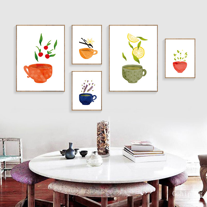 Watercolor Tea Cup Art Canvas Painting Prints Kitchenware Wall Art Posters Pictures For Dining Hall Kitchen Home Decor