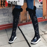 FEDONAS Female Classic Warm Long Boots Party Shoes Woman Winter Women Over The Knee Boots Quality Pu Leather Riding Snow Boots
