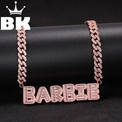 Хип-хоп на заказ маленький багет кулон с надписью с розовой 9 мм цепочкой ожерелье сочетание слов имя циркония ювелирные изделия