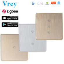 EU Zigbee Touch Switch Smart Home Switcher Light Switches Zero FireWire Control Swtiched with Google Home Alexa Aluminum Shell