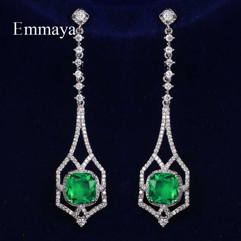 Модные ювелирные изделия Emmaya для женщин, изящные длинные серьги с геометрическим кубическим цирконием, Многоцветный выбор, Очаровательное украшение для вечеринки